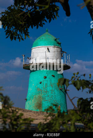 Dengogo Moschee grüne Minarett, Harari Region, Dengogo, Äthiopien Stockbild