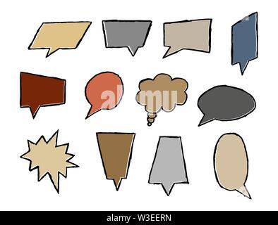 Text Felder verschiedener Form und Konfiguration, Marktführer für Text, Phrase oder Nachricht, flache Bauform Stockbild