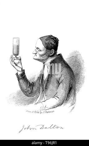 John Dalton (September 6, 1766 - Juli 27, 1844) war ein englischer Chemiker, Meteorologen und Physiker. Obwohl er sich am besten für seine Pionierarbeit in der Entwicklung der modernen Atomtheorie bekannt ist, begann er ein meteorologisches Tagebuch 1787, in der er mehr als 200.000 Bemerkungen eingetragen. Stockbild
