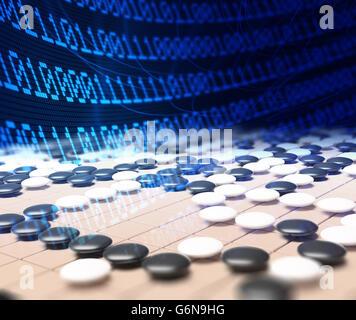 Künstliche Intelligenz im Wettbewerb im Spiel Go - 3D illustration Stockbild