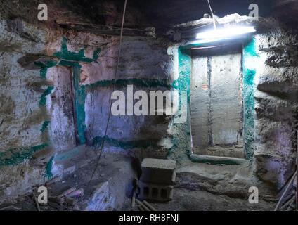 In einem alten Haus aus Stein, Provinz Jizan Addayer, Saudi-Arabien Stockbild