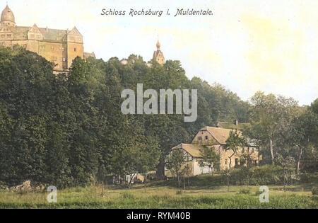 Schloss Rochsburg, 1908, Landkreis Mittelsachsen, Rochsburg, Schloß, Deutschland Stockbild
