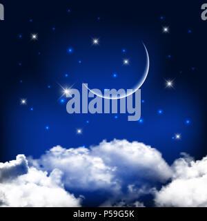 Nacht Himmel mit Mond über den Wolken - ideal für Halloween Stockbild
