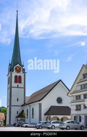 Die Kirche des Dorfes von Gais im Kanton Appenzell Ausserrhoden, Schweiz. Stockbild