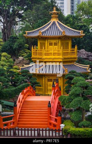 Die Pagode im Chi Lin Nunnery und Nan Lian Garden, Kowloon, Hong Kong, China, Asien Stockbild