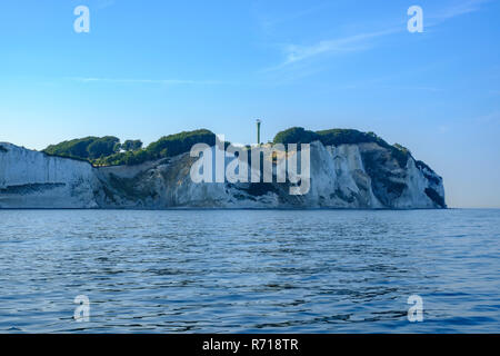 Møns Klint, die Kreidefelsen der Insel Moen, Dänemark, Skandinavien, Europa, wie von offcoast gesehen. Stockbild