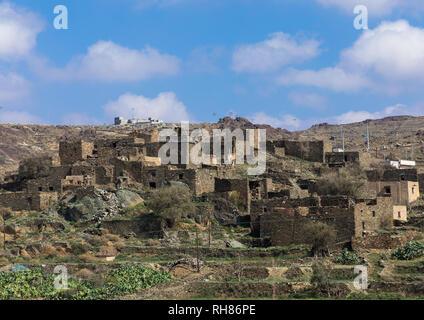 Häuser aus Stein Dorf auf dem Hügel, Al-Bahah region, al Qara, Saudi-Arabien Stockbild