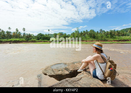 Frau in Pinnawala, Sri Lanka, Asien Stockbild