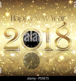 Dekorative Frohes Neues Jahr Hintergrund mit Zifferblatt Stockbild