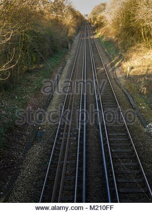 Bahnstrecke Havant Hampshire England Großbritannien Stockbild