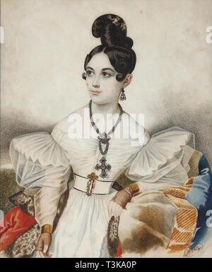 Apollonia (Apollinaria) Michailowna Vielgorskaya (1818-1887), 1830. In der Sammlung des Staatlichen Museums für A.S. Puschkin, Moskau gefunden. Stockbild