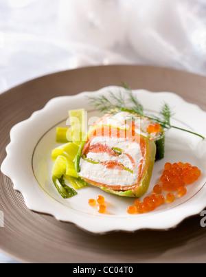 Geräucherter Lachs Kuchenform Stockbild