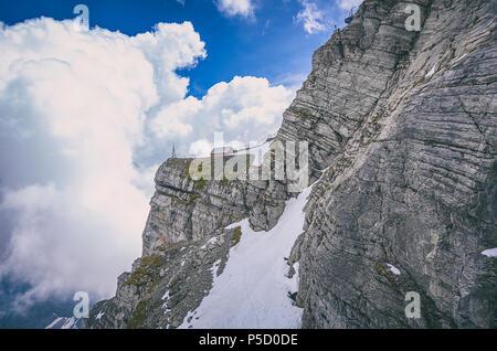 Auf dem Gipfel des Säntis, Appenzell Alpen, Schweiz. Mit dem Säntis in den Appenzeller Alpen, Schweiz. Stockbild