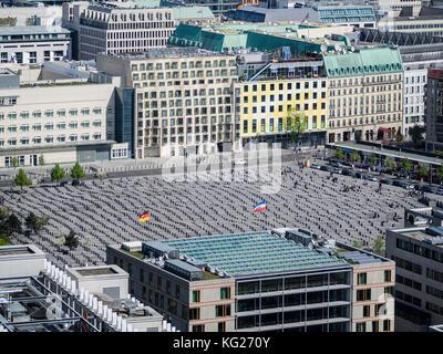 Stadtbild Blick gegen das Holocaust-mahnmal als von der Aussichtsplattform der kollhoff Tower, Berlin, Deutschland, Stockbild