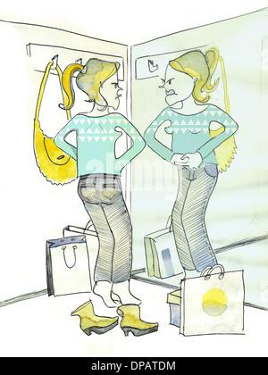 Ein Aquarell von einer Frau in einer Umkleidekabine, ein paar Jeans anprobieren Stockbild