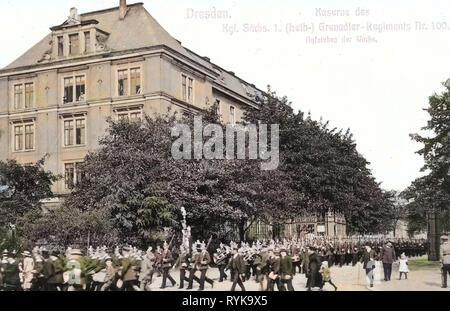1. Königlich Sächsisches Leib-Grenadier-Regiment Nr. 100, Leib-Grenadier-Kasernen, 1912, Dresden, Kaserne des 1. Königlich Sächsischen Grenadier, Regiment Nr. 100, Deutschland Stockbild