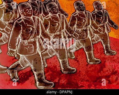 Soldaten marschieren Stockbild