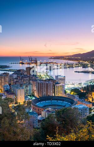 Gibralfaro Viewpoint, Malaga, Costa del Sol, Andalusien, Spanien, Europa Stockbild