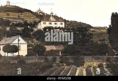 Hoflößnitz, Spitzhaus, Bismarckturm (Radebeul), 1907, Landkreis Meißen, Holzhof (Hoflößnitz), Radebeul, Bismarckturm, Deutschland Stockbild