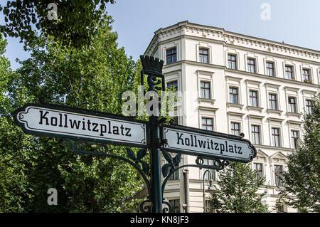 Der Kollwitzplatz, Straßenschild, Prenzlauer Berg, Deutschland Stockbild