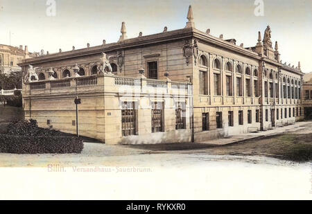 Gebäude in Bílina, 1902, Aussig, Bilin, Versandhaus Sauerbrunn, Tschechische Republik Stockbild