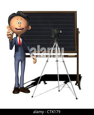 Cartoon Figur Fotograf mit DSLR-Kamera auf einem Stativ und Tafel Stockbild