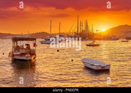 Marina bei Sonnenuntergang, Bodrum, Türkei Stockbild