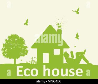 Landschaft mit grünen Bäumen, Haus und Mann ein Buch lesen. Umweltfreundliche Haus Konzept. Stockbild
