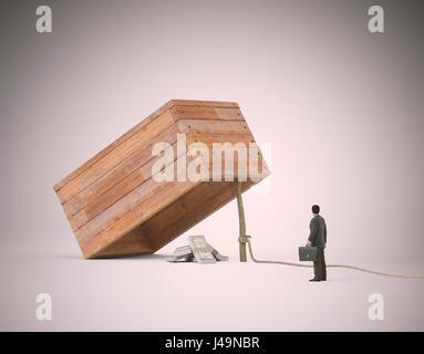 Geschäftsmann Verseilung neben einer Treppe mit Geld - 3d illustration Stockbild