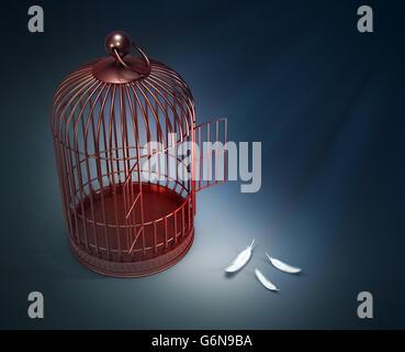 Ein offener Vogelkäfig mit Federn - Freiheit Konzept Abbildung Stockbild
