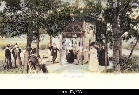 Federn in Marienbad, 1899, Karlsbad, Marienbad, Rudolfsquelle, Tschechische Republik Stockbild