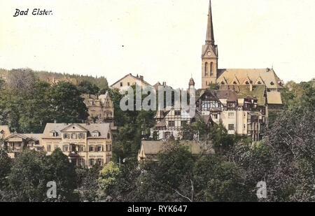 Kirche der Heiligen Dreifaltigkeit (Bad Elster), Ansichten von Bad Elster, Fachwerkhäuser in Sachsen, 1917, Vogtlandkreis, Bad Elster, Deutschland Stockbild