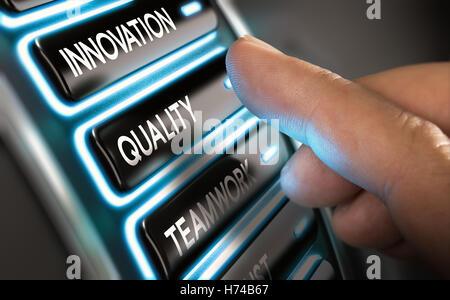 Finger drücken Sie eine Taste auf einem Dashboard. moderne User Interface Design mit blauen Tönen. Konzept Stockbild
