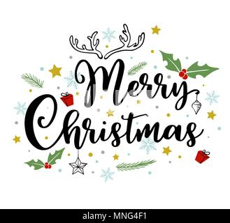 Urlaub Hintergrund mit Gruß Inschrift. Hand Vektor doodle Weihnachten gezeichnet Schriftzug. Stockbild
