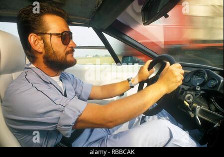 Ex Lamborghini Testfahrer Valentino Balboni 1987 Stockbild