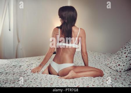 Mode sexy Mädchen in weißen Unterwäsche Stockbild