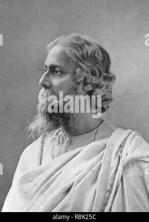 RABINDRANATH TAGORE (1861-1941) indische Dichter, Musiker und Künstler Stockbild