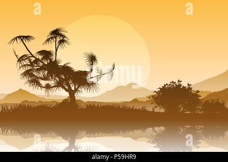 Sunset Landschaft mit Bäumen und Bergen im Fluss spiegeln Stockbild