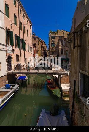 Brücke über einen kleinen Kanal in der alten Stadt, Region Veneto, Venedig, Italien Stockbild