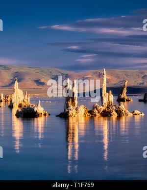 Reflexion der hohe, schmale Tuffstein in Mono Lake. Kalifornien. Stockbild