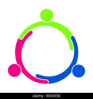 Teamarbeit. Eine Gruppe von drei Personen bilden einen Kreis. Stockbild