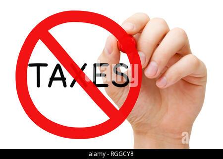 Handzeichnung steuerfrei, Abzüge, Einsparungen, Erstattungen oder Verbotsschild Konzept zurück. Stockbild