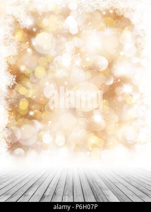 Weihnachten Fotografie Hintergrund mit Holzboden und golden Schneeflocke Hintergrund Stockbild