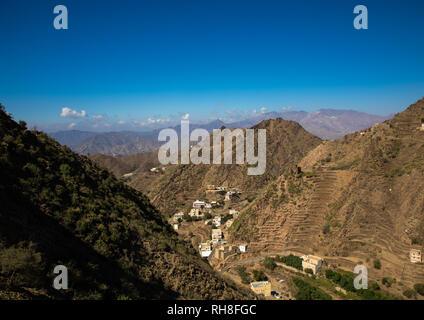 Dorf in den Bergen, in der Provinz Jizan, Addayer, Saudi-Arabien Stockbild