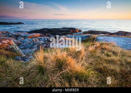Am frühen Morgen auf der Insel Runde, atlantischen Westküste, Østfold, Norwegen. Stockbild