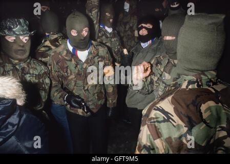 Ian Paisley 3. Dritte Kraft Paramilitärs Rote Hand Kommandos an Newtownardes für LOYALISTISCHEN Tag der Stockbild