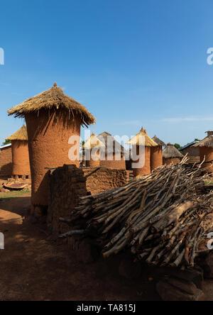 Getreidespeicher mit Strohdächern in einem senufo Dorf, Bezirk, Niofoin Savanes, Elfenbeinküste Stockbild