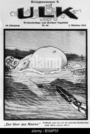 9-1914-10-2 E1 E 1. Weltkrieg U Boote Karikatur 1914 1. Weltkrieg deutschen U Boote den Mann auf dem Meer-Karikatur Stockbild