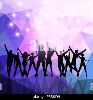 Sihouette einer Partei Masse auf eine Low Poly Hintergrund Stockbild