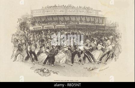 Die Galop auf einem Maskenball am Op é Ra in Paris, 1843. Private Sammlung. Stockbild